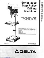 Delta 1275 Series 2000 Step Pulley Drilling Instruction Manual FREE SHIPPING