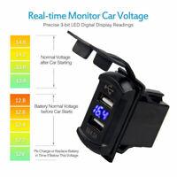 12V-24V Dual 2 USB Port Car Boat Charger Socket Voltage Digital Panel Volt Meter