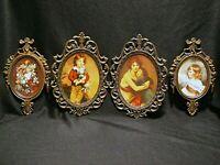 LOT 4 VintageITALY Picture Frames Metal Ornate Florentine Hollywood Regency