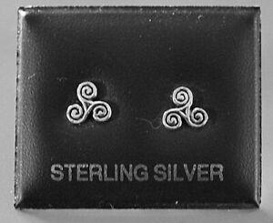 STERLING SILVER 925, STUD EARRINGS CELTIC SWIRL  7mm 4BUTTERFLY BACKS STUD 174