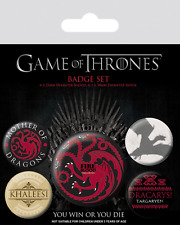 Official Game Of Thrones Fire And Blood Targaryen Badge Pack Of 5 Novelty Gift