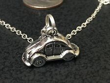 "60's VW Beetle Bug Car Charm Tibetan Silver with 18"" Necklace BIN"