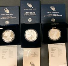 2019 American Silver Eagle Proof (W & S) and UNC (W) - 3 coin set with COA