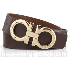 SALVATORE FERRAGAMO brown leather 42 gold Double GANCINI buckle Belt NWT Authent