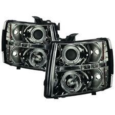 Spyder Projector Headlights LED Halo - Smoke for Silverado 1500, 2500HD, 3500HD