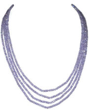 Rondelle Faceted Beads 4 Strand Necklace Tanzanite Color Zircon Gemstone 3 mm