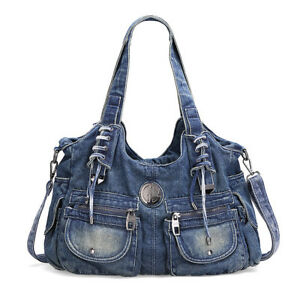 fashion leisure large capacity fashion jeans purse shoulder bag  002