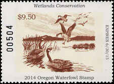 OREGON  #30  2014 STATE DUCK STAMP CANADA GEESE  By Harold Cramer Smith