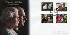 Falkland Islands 2017 FDC Queen Elizabeth II Platinum Wedding 4v Cover Stamps
