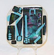 """~ Fab VINTAGE DICHROIC FUSED STUDIO ART Display PLATE, Iridescent, 7 1/2"""" ~"""