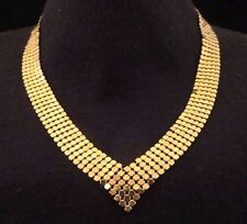 Vintage Mesh Style V Front Chain Necklace Bright Shiny Gold Tone 17 1/4""
