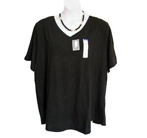 NEW BLACK V Neck Tee T Shirt Plus Size 3X 24W 26W Tshirt Terra & Sky S/S NWT