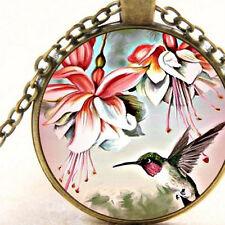 New Hummingbird and Fuchsia Flowers Glass Pendant Necklace, Bird, Gift Jewellery