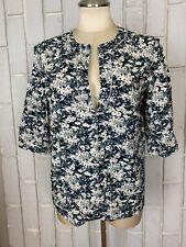 EUC Cacharel Black Floral Print Cotton 3/4 Sleeve Blouse 10