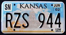 "KANSAS "" STATE CAPITOL - WHEAT - RZS 944 "" 2002 KS Vintage Classic License Plate"