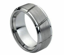 Free Engraving Tungsten Carbide Brushed Diagonal Grooved Cuts Wedding Band Ring