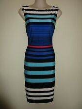 CACHE NWT $148.00 Black/White/Pink Striped Sheath Dress, Knee-Length, Sleevel. 6