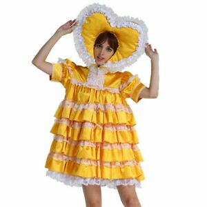 Baby Swee theart Sissy Lockable Satin Yellow Dress cosplay Uniform Tailor-made