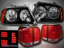 2003 04 05 06 LINCOLN NAVIGATOR HEADLIGHTS LAMPS BLACK & LED TAIL LIGHTS RED