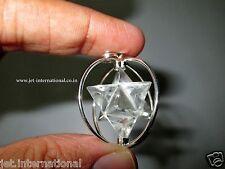 Clear Quartz Spinning Merkaba Pendant Reiki Energy Gift Sacred Metaphysical A++