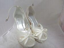 Ivory Satin Peep-toe Ankle Strap Shoes UK3.5 EU36 JS23 53