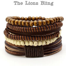 Urban Bohemian style Stacked Genuine Brown Leather & Wood Bead Bracelets