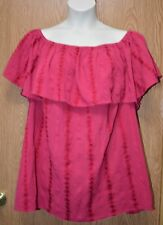 Womens Pretty Magenta Embroidered Style&co Short Sleeve Shirt Size 3X NWT NEW