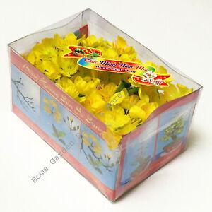 Artificial Fake Silk Yellow Apricot Flower Blossom Ochna Hoa Mai Tet Bonsai Kit
