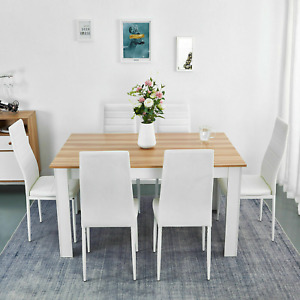 Wooden Dining Table Chairs Kitchen Set and Furniture Home Room Solid Seat
