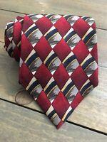 J Garcia Red Gray Gold Blue Geometric Classic Silk Mens Neck Tie