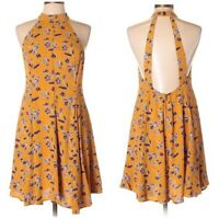 Urban Outfitters Kimchi Blue Size Small Swing Dress Floral Yellow Purple Halter