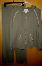 Sport Savvy Hoodie & Sweatpants Set Green with Gold Stitching Size Small New