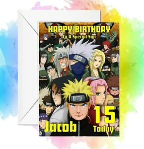 Personalised Birthday Card Naruto Anime  any name/relation/age