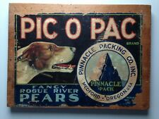 ANCIENNE IMAGE SUR PLAQUE BOIS - PIC O PAC FANCY ROGUE RIVER PEARS OREGON