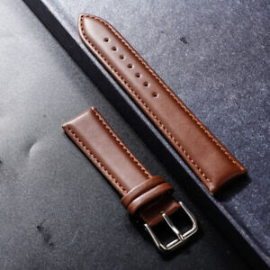 Genuine Leather Wrist Watch Band Stainless Steel Buckle Black Strap 12-24mm