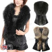 Hip Length Faux Fur Patternless Casual Waistcoats for Women