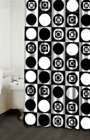 BLACK & IVORY WHITE ART DECO FABRIC SHOWER CURTAIN ~ APPLIQUED DESIGN ~  NEW