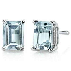 1.62 ct Emerald Cut Blue Aquamarine Stud Earrings in 14K White Gold