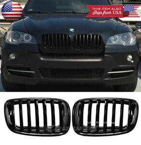 Gloss Black Front Bumper 7 Slats Grille Grill Fit 07-13 BMW X5 E70 08-14 X6 E71