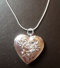 """WHOLESALE .925 STERLING SILVER 18"""" NECKLACE AND ROSE/HEART LOCKET AND GIFTBOX"""