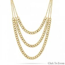 Gold Tone Curb 3 Strand Chain Hip Hop Necklace NWT!!