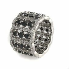 JEAN DOUSSET BLACK AND WHITE ETERNITY SILVER BAND RING SIZE 6 HSN SOLD OUT