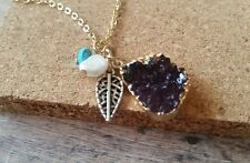 Crystal druzy pendant, gold necklace, charm jewelry, purple quartz, pearl