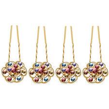 Luxury Bridal Colourful Flowers 4 Hair Pins Accessories Head Decoration HA205A