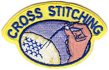 """CROSS STITCHING"" IRON ON EMBROIDERED PATCH - CRAFTS - HOBBY - SEWING"