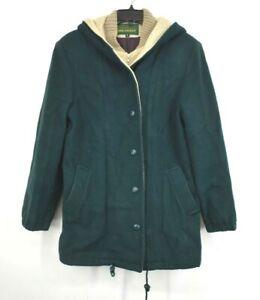 Herman Kay Womens Green Bib Lined Jacket Hooded Front Button Zipper  8