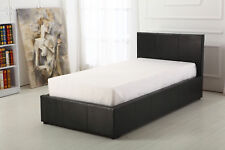 Black 3ft Single Deep Ottoman Leather Bed Strong
