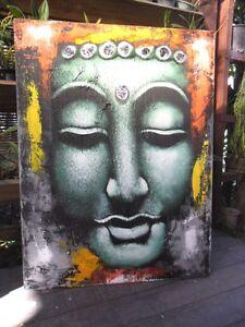 Indonesian Kabaya Art Painting - Abstract Painting with Kabaya Lace
