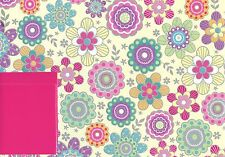 CANDY FLOWERS 2 SHEETS OF GIFT WRAP WRAPPING PAPER +2 TAGS ANY OCCASION 1STP&P