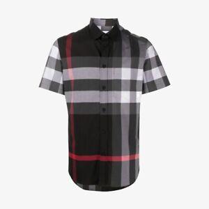 Burberry Short-Sleeve Check Stretch Poplin Shirt - Charcoal Grey